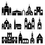 Church building icons. Vector basilica and chapel silhouettes. Black temple facade set illustration Royalty Free Stock Photos