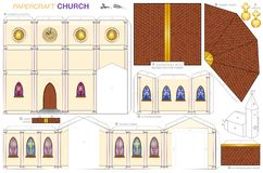 Church Building Paper Craft Template. Church building paper craft model. Cut-out sheet for making a detailed 3d scale model church with steeple, nave, altar stock illustration