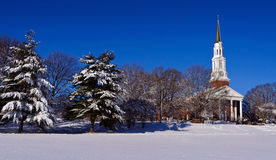 Church building on a snowy morning Royalty Free Stock Photo