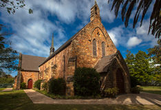 Church Building Stone. Settlers Church built in the 1800s in George Southern Cape of South Africa. The building stands secure in its construction of stone and Stock Photos