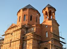Church building under construction in the morning Royalty Free Stock Image