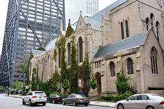 Church and buildings, Chicago north downtown. Chicago city urban street and church. Photo taken in October 5th, 2014 Stock Image