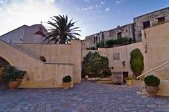 Church buildings and greenery inside Preveli monastery, island of Crete Royalty Free Stock Image