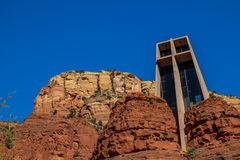 Church Built In Red Rock Formation. Modern Church Structure With Cross Built Into Red Rock Formation In Southwest royalty free stock images