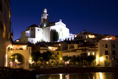 The church of Cadaques at night royalty free stock images