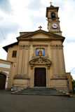 Church caiello italy the  window  clock and bell tower Stock Images