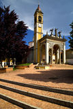 Church cairate varese italy old wall terrace tower plant Stock Photo