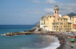 Church of Camogli along the Mediterranean, Italy Stock Photography