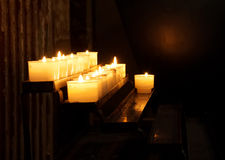 Church candle in a row Royalty Free Stock Photos