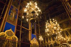 Church candlellight. Orthodox temple. Suzdal. Russia Stock Photos