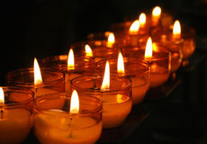 Church Candles 1. Line of burning church candles royalty free stock photos