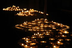 Church candles. A theory of candles in the cathedral of Notre-Dame, Paris stock photos