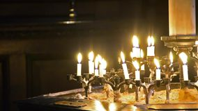 Church candles in the dark Stock Image