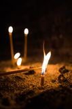 Church Candles Lit In Memory Of Stock Image