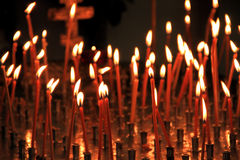 Church candles. In orthodox church Royalty Free Stock Photo
