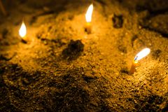 Church Candles In The Sand Stock Images
