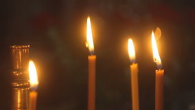Church candles in the temple stock video footage