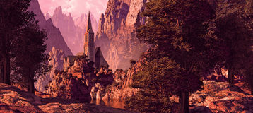 Church In The Canyon. Church in a canyon near a lake with rock formations and textures brought out by the early morning sun light vector illustration