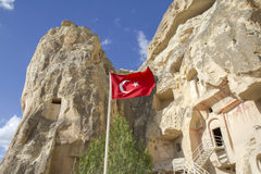 Church in Cappadocia with Turkish flag, Turkey Stock Photos