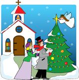 Church Carolers. A pair of carolers singing in front of a church with a Christmas tree and angel placing a star on top of the tree Royalty Free Stock Image