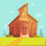 Church Cartoon Background. Church old building cartoon background with lawn and trees vector illustration stock illustration