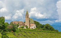 Church of Castelvecchio, located at 612 m asl, is the highest located locality belonging to Caldaro, South Tyrol, Trentino Alto Ad Royalty Free Stock Images