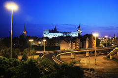 Church and Castle. Pomeranian Dukes' Castle and Cathedral Basilica of St. James the Apostle in Szczecin, Poland at night Stock Image