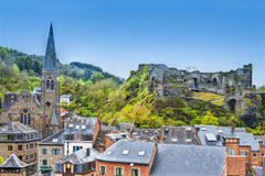 Church and the Castle of La Roche. Stock Photos