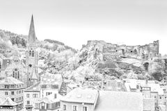Church and the Castle of La Roche. Royalty Free Stock Photo