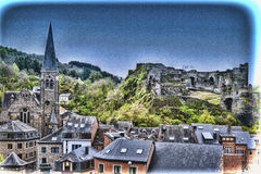 Church and the Castle of La Roche. Royalty Free Stock Photos