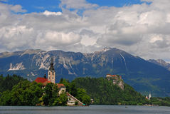 Church and Castle at Lake Bled Royalty Free Stock Photos