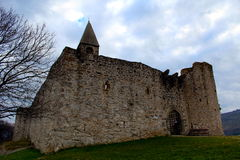 Church within a castle. Medieval church surrounded by a walls inside a castle Royalty Free Stock Photo