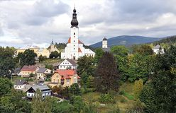 Church and castle, village Branna, Czech Republic, Europe Royalty Free Stock Photos
