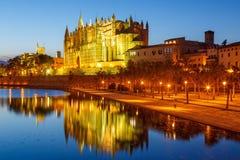 Church Catedral de Palma de Mallorca Majorca Cathedral twilight. Spain travel traveling tourism Stock Photography