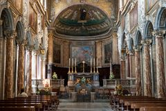 Church Cathedral Interior with Ancient Historical Decoration Art in Rome Italy 2013 Royalty Free Stock Photography