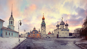 Church cathedral in old small russian town Royalty Free Stock Photos