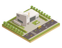 Church Cathedral Road Isometric Composition. Modern protestant church white stone building with cross alongside busy motorway road isometric composition poster Stock Photography