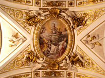 Church ceiling. Richly decorated church ceiling in Perugia, Italy stock photo