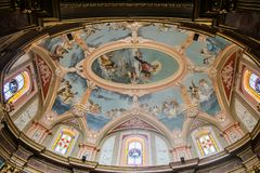 Church Ceiling. A shot of the ceiling of the The Church of the Annunciation located in Mdina, Malta Stock Image