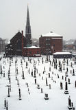Church and Cemetery. Cemetery and church in snowstorm Royalty Free Stock Photography