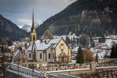 Church and cemetery Stock Photography