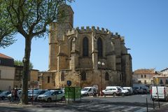 A church in the center of Narbonne, France stock images