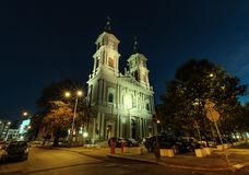 The church in the center of Ostrava, Czech republic. Night foto Royalty Free Stock Image