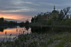 A church in Central Russia at sunset. Church under recontruction in Moscow Region near Lukhovitsy Royalty Free Stock Images