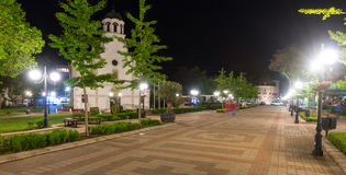 Church in the central street of night Pomorie in Bulgaria royalty free stock images