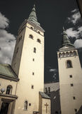 Church at centre of city Zilina, Slovakia Royalty Free Stock Images