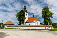 Church in the centre of the village Liptovske Sliace, Slovakia Royalty Free Stock Photos