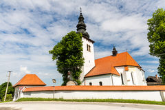 Church in the centre of the village Liptovske Sliace, Slovakia Stock Photos