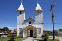 Church in Chacao village, Chiloe island, Chile Royalty Free Stock Photos