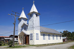 Church in Chacao village, Chiloe island, Chile Royalty Free Stock Image